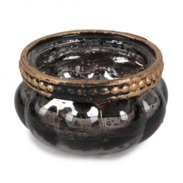 Teelichtglas Vintage mit Metallrand in Anthrazit verspiegelt, 35 mm