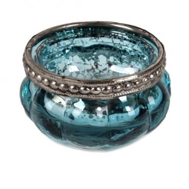 Teelichtglas Vintage mit Metallrand in Türkis/Silber, 60 mm