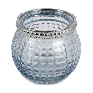 Teelichtglas, Windlicht Vintage mit Metallrand in Hellblau/Silber, 65 mm