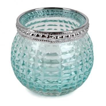 Teelichtglas, Windlicht Vintage mit Metallrand in Mintgrün/Silber, 65 mm