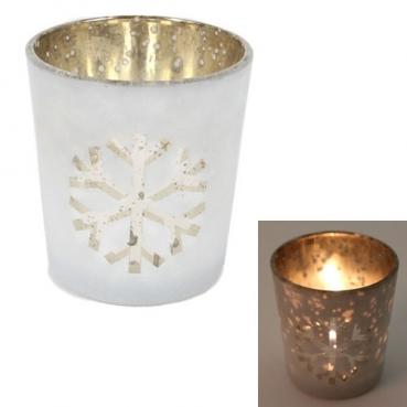 Teelichtglas Eiskristall in Weiß/Gold verspiegelt, 75 mm