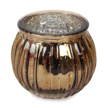 Teelichtglas, Windlicht gestreift in Bronze verspiegelt, 65 mm