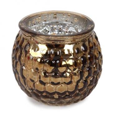 Teelichtglas, Windlicht Wabenmuster in Bronze verspiegelt, 65 mm