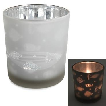 Teelichtglas Fische Muster verspiegelt in Weiß, 80 mm