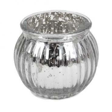 Teelichtglas, Windlicht gestreift in Silber verspiegelt, 65 mm