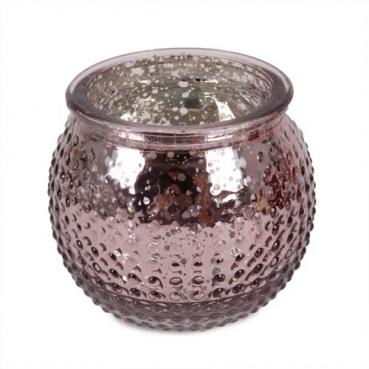 Teelichtglas, Windlicht Punkte in Altrosa hell, verspiegelt, 65 mm