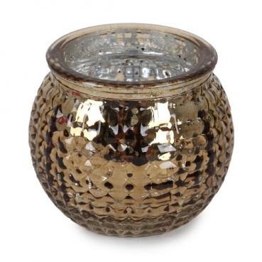Teelichtglas, Windlicht Karomuster in Bronze verspiegelt, 65 mm