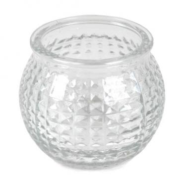 Teelichtglas, Windlicht Karomuster, klar, 65 mm