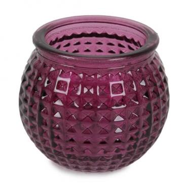 Teelichtglas, Windlicht Karomuster in Lila, 65 mm