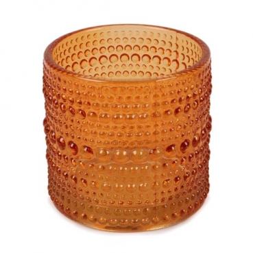 Teelichtglas Punkte in Orange, 70 mm