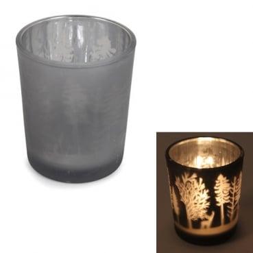 Teelichtglas Winterwald in Grau/Silber verspiegelt, 65 mm