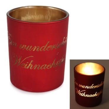 Teelichtglas -Ein wunderschönes Weihnachtsfest- in Rot/Gold verspiegelt, 75 mm