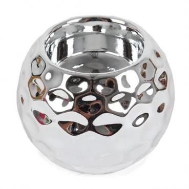 Keramik Teelichthalter Kugel mit Wabenmuster in Silber, 80 mm