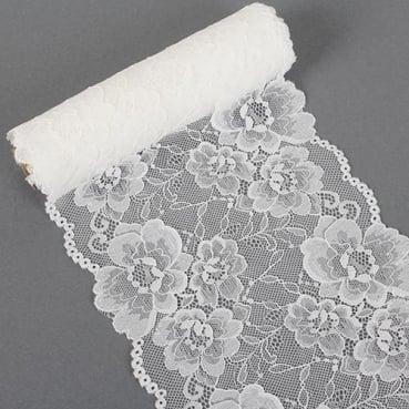 3 Meter Tischläufer Hochzeit, Spitze in Weiß, 18 cm
