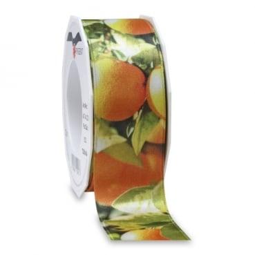 Satin Tischband Toskana Orangen, 40 mm