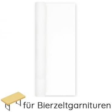 9,9 Meter Airlaid Papier Tischdecke für Biertische, Bierzeltgarnituren in Weiß, 80 cm
