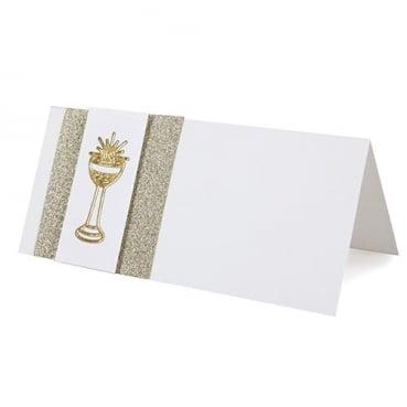 Tischkarte zur Kommunion oder Konfirmation in Gold