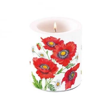 Tischkerze Mohnblumen und Bellis, 90 mm