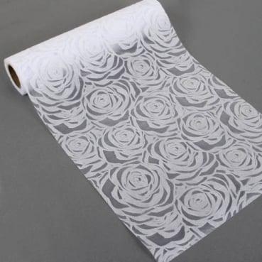 5 Meter Tischläufer Hochzeit, Rosen in Weiß, beflockt, 30 cm