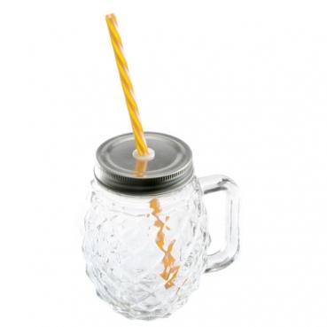 Sommer Glas mit Schraubdeckel und Trinkhalm in Ananas-Optik, 13 cm