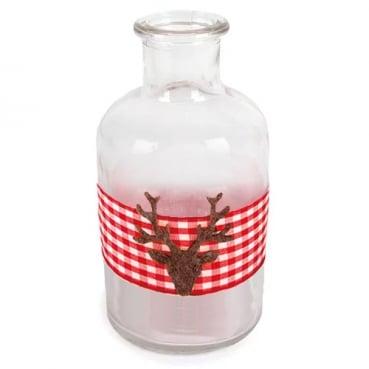 Glas Flaschen Väschen Karoband und Hirschkopf in Rot, 12 cm