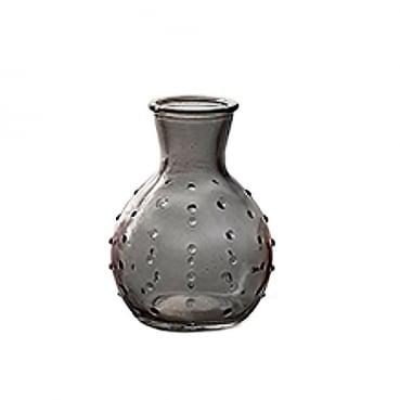 Kleines Glas Väschen mit Punkten in Anthrazit, 10 cm
