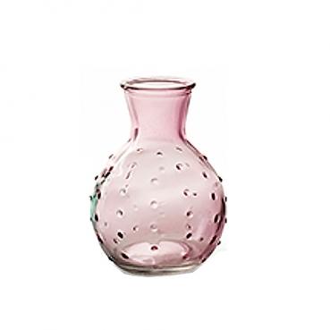 Kleines Glas Väschen mit Punkten in Hellrosa, 10 cm