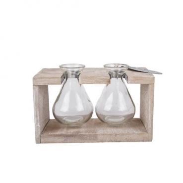 2 Glas Väschen hängend im Holzgestell, 18,5 cm