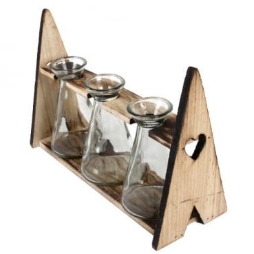 3 Väschen im Holzgestell mit Herzen, 25 cm