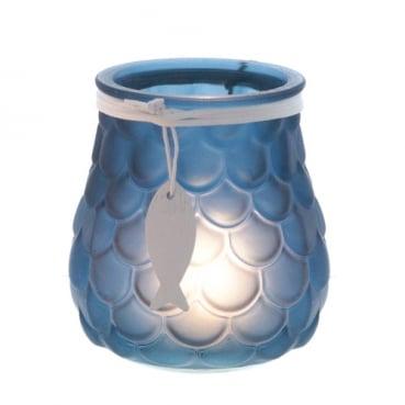 Glas Windlicht Maritim, Schuppenmuster mit Holz Fischanhänger in Dunkelblau, 11 cm