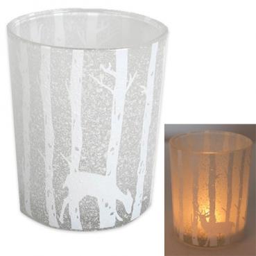 Glas Windlicht Winterwald mit Schnee in Weiß/Klar, 12,5 cm