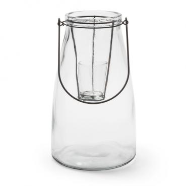 Großes Windlicht mit Teelichtglaseinsatz und Henkel, 26,5 cm