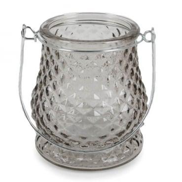 Glas Windlicht, Diamant, klar mit Henkel in Silber, 10 cm