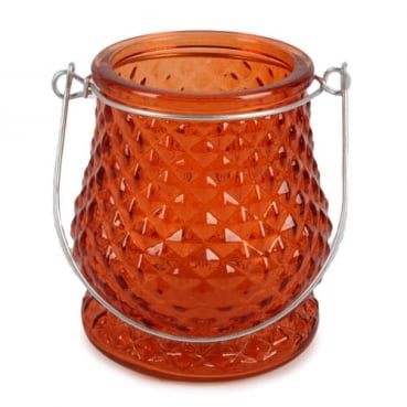 Glas Windlicht, Diamant in Orange mit Henkel in Silber, 10 cm