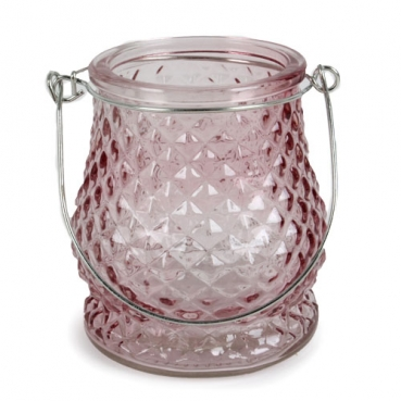 Glas Windlicht, Diamant in Rosa mit Henkel in Silber, 10 cm