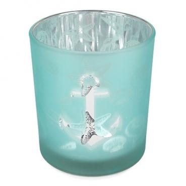 Glas Windlicht Maritim, Muscheln, Anker in Mint satiniert, Silber verspiegelt, 90 mm