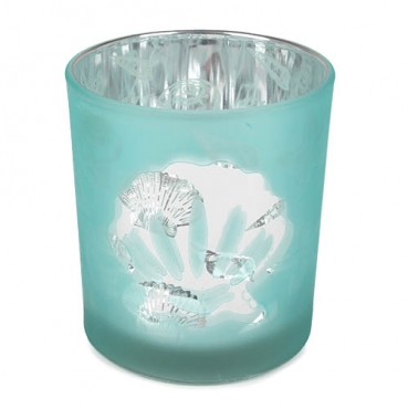 Glas Windlicht Maritim, Muscheln in Mint satiniert, Silber verspiegelt, 90 mm