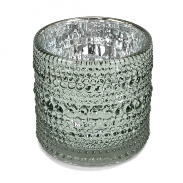 Teelichtglas Punkte in Mintgrün glänzend, verspiegelt, 70 mm