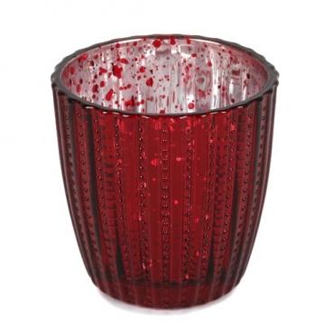 Teelichtglas, konisch, gestreift in Dunkelrot, verspiegelt, 75 mm