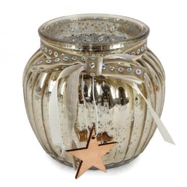 Glas Windlicht, Weihnachten mit Holz Stern in Gold verspiegelt, 10,5 cm