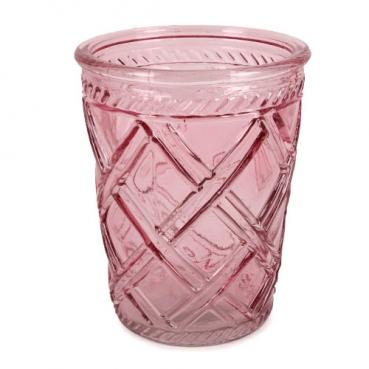 Glas Windlicht, Vase mit Rautenmuster in Rosa, 12,5 cm