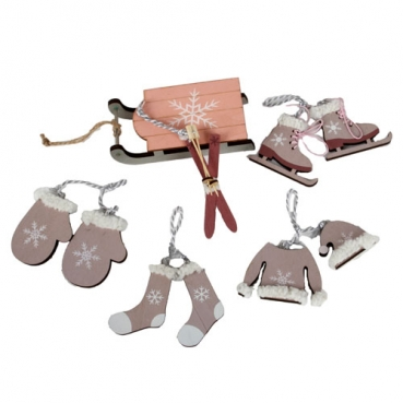 7 tlg. Holz Christbaumschmuck, Winterdeko-Set in Taupe/Rosa, 5 - 13 cm