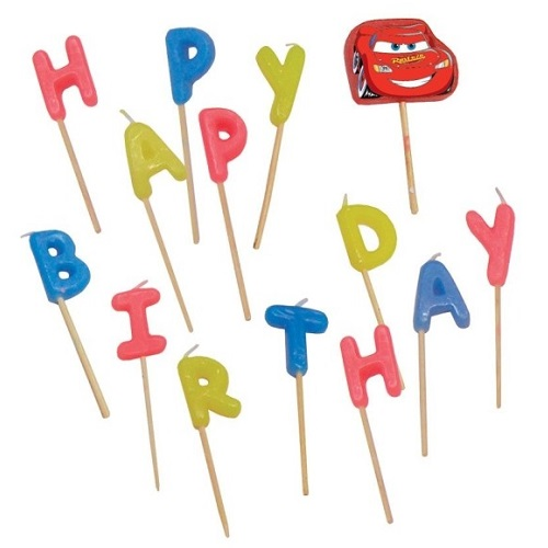 14er Pack Buchstabenkerzen Happy Birthday Cars 2