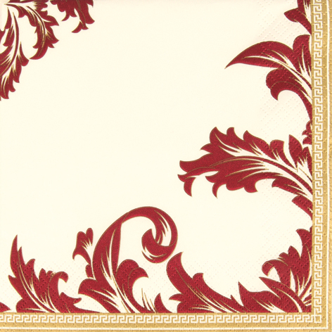 20er Pack Servietten Ornamentmotiv in Gold/Bordeaux 33 x 33 cm