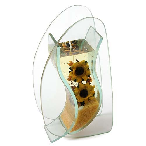 glas vase mit gelkerze sonnenblume tafeldeko. Black Bedroom Furniture Sets. Home Design Ideas