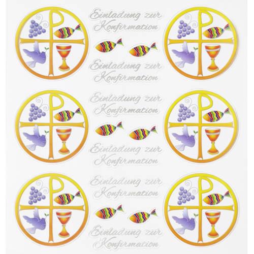 Klebe Sticker Christliche Symbole  Einladung Zur Konfirmation