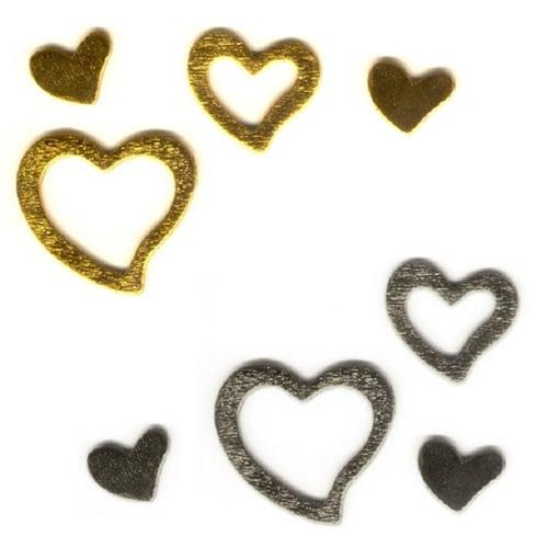 24 herzen aus holz in gold oder silber for Tafel deko