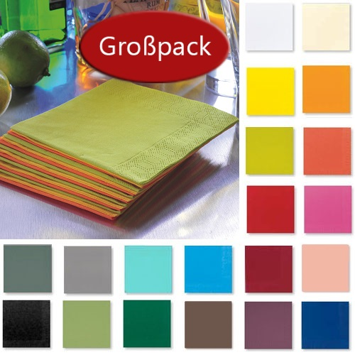 250er Pack Duni Cocktail Servietten, 24 x 24 in 20 Farben.