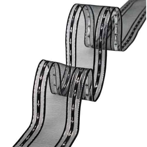 20-meter-tischband-palma-mit-kreuzen-in-schwarz-silber-40-mm