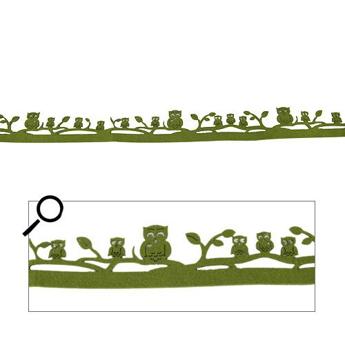1 Meter Filz Tischband, Bordüre Eulen in Olivgrün